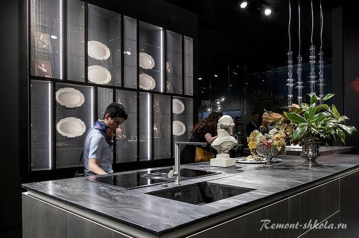 стильная серая кухня