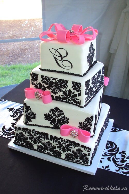 Торт с рисунком дамаск-3