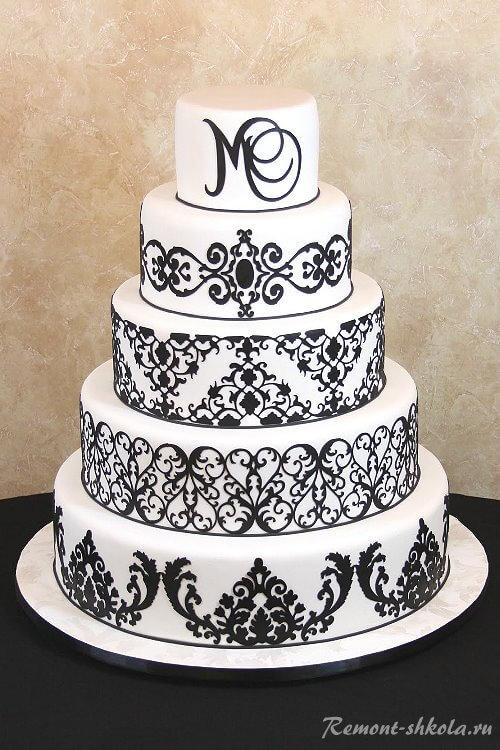 Торт с рисунком дамаск