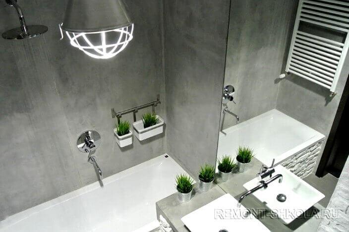 Ванная с отделкой под бетон 2
