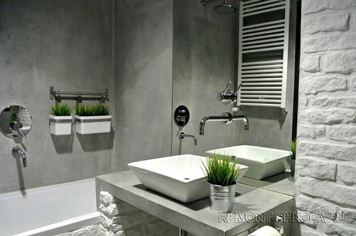 Ванная с отделкой под бетон