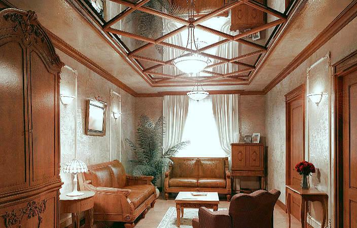 Зеркальный потолок в классическом дизайне.