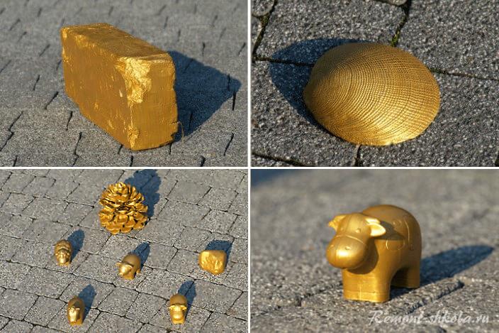 Окрашенные в золото предметы